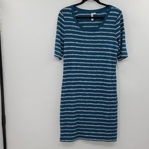 Kensie teal with white stripe dress. Size large